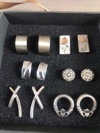 Srebrne i metalowe kolczyki na sztyft
