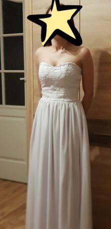 Suknia ślubna sukienka długa maxi biała poprawiny wesele studniówka 34