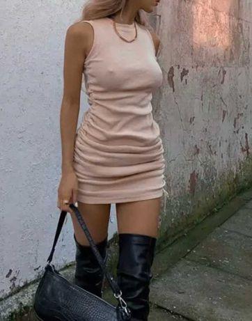 Стильный новый сарафан платье пудровое в рубчик
