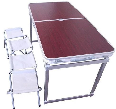 Усиленный стол для пикника раскладной с 4 стульями коричневый