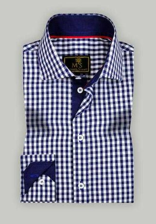 """Рубашка мужская с узором """"клетка"""" синяя/белая Slim Fit"""