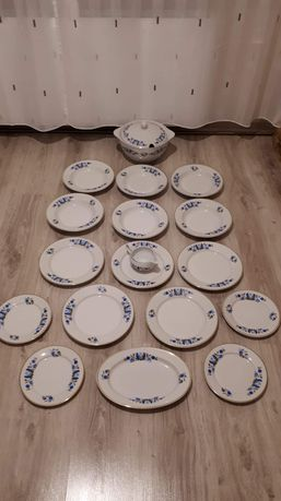 Porcelana kaszubska Lubiana talerze waza półmisek sosjerka  zestaw