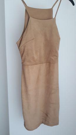 Vestido castanho/ bege aveludado