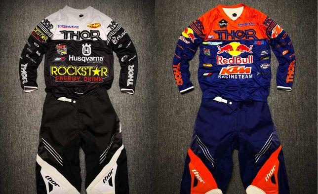 Кроссовый костюм штаны и джерси Thor Red Bull и Rock Star на мотоцикл