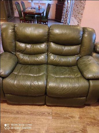 Sofa 2 osobowa funkcja relaks ekoskóra zielona