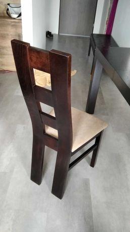 Stół drewniany rozkładany z krzesłami