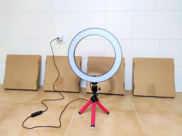 [NOVO] Ring Light c/ Anel 26 cm e Tripé - Intensidade Ajustável