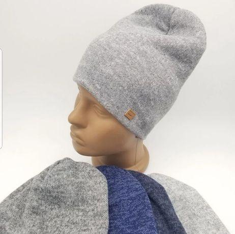 Зимняя шапка детская  взрослая для мальчиков двойная  Ангора с начесом