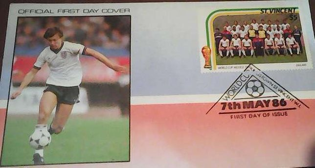 Znaczek FiFa 7th May 86 World Cup Mexico 1986 England St.Vincent S5 $5