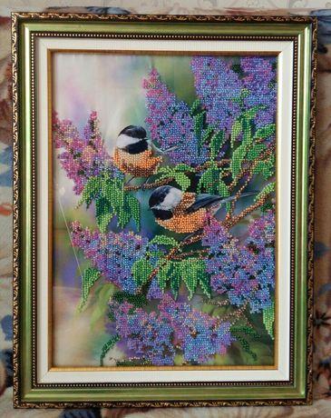 """Картина вышитая бисером """"Пара птиц"""""""