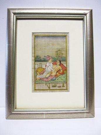 linda antiga pintura romântica e erótica Persa com moldura moderna