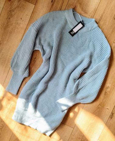 Sukienka sweterkowa Boohoo S błękitna półgolf ściągacz bufiaste rękawy