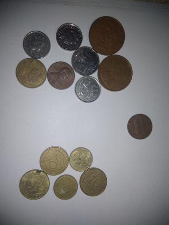 Monety angielskie i i z różnych stron świata