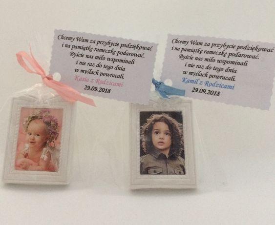 Podziękowania dla gości magnes mini rameczka chrzest roczek urodziny