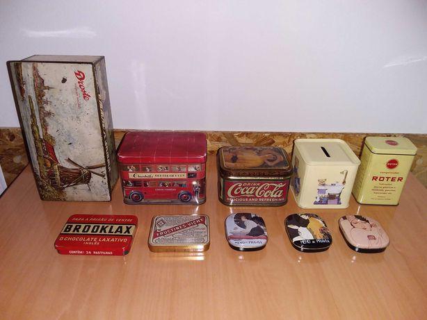 Lote conjunto caixas alumínio porcelana madeira antigas Tudo 20€