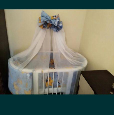 Детский балдахин,защита на кроватку,одеяло с подушкой и комплект белья