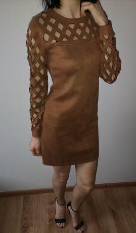 Brązowa sukienka boho Zamszowa sukienka zip