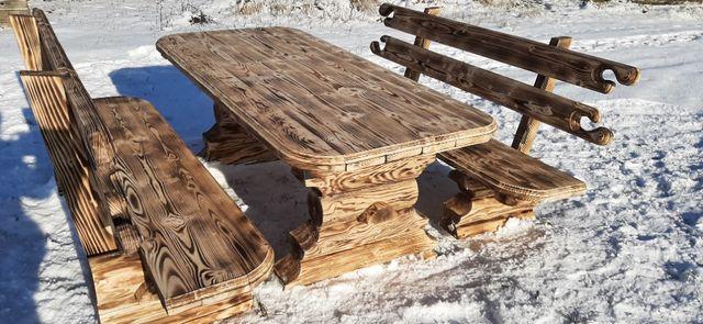 стол деревянный и скамейки набор