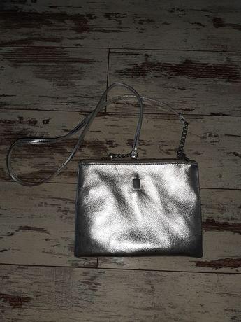 Mohito srebrna torebka listonoszka, na pasku, łańcuszek