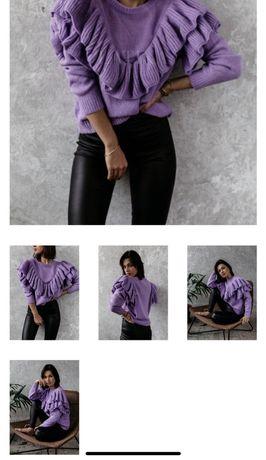 Sweter sweterek liliowy uniwersalny s hit zima zara