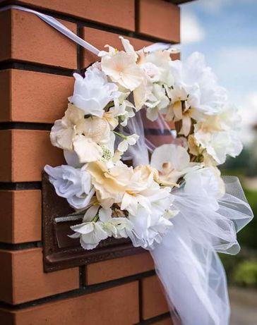 Dekoracja wianek drzwi brama ślub ślubna kwiatki tiul wstążki