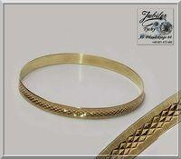 Złota grawerowana bransoletka damska przekładana sztywna koło złoto585