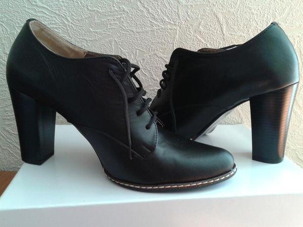 Кожанные туфли лофферы ботинки ботильоны р.38