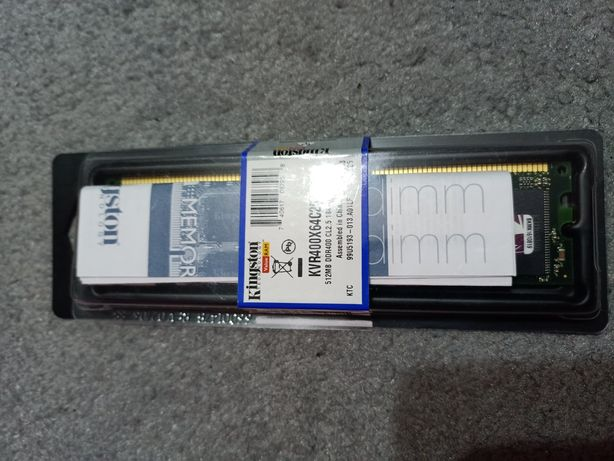 Pamięć Ram Kingston 512 MB DDR 400 CL2.5 184-pin DIMM KVR400X64C25/512