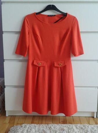 atmosphere pomarańczowa koralowa sukienka rozkloszowana blogerska L 40