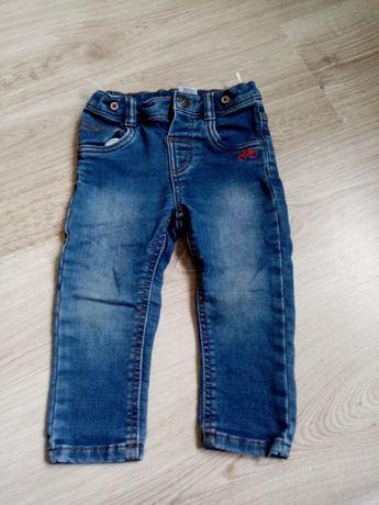 Spodnie jeans r. 86 regulacja w pasie, rower