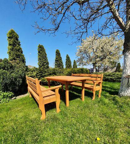 Meble Ogrodowe  Drewno 2x ławka + stół  Transport GRATIS