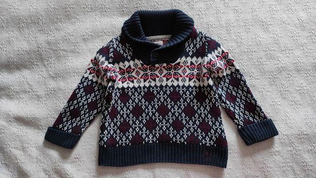 Świetny sweter, sweterek chłopięcy, rozm. 86, Mothercare, Heritage