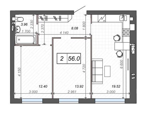 Просторная 2-х комнатная квартира, клубный дом