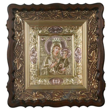 Серебряная позолоченная икона Иверской Божьей Матери