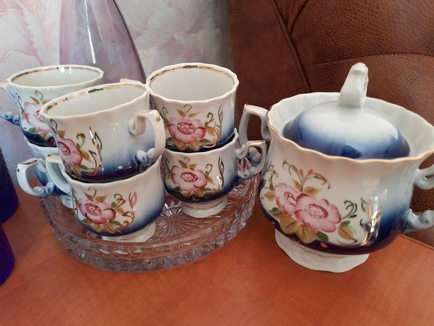 Кофейный набор кобальт, бутон розы, фарфор СССР