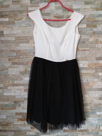 sukienka biało czarna tiul studniówka
