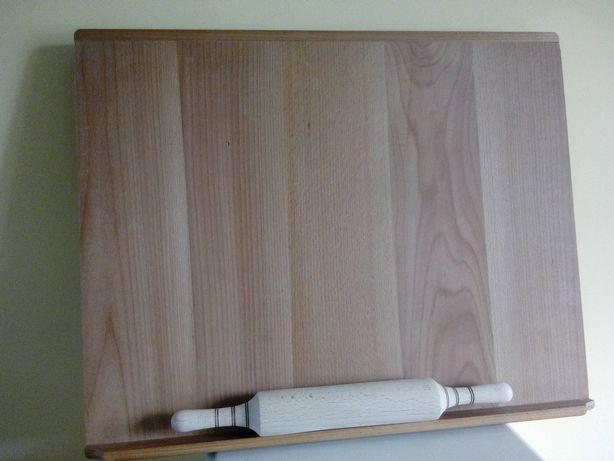 Доска для раскатки теста деревянная 65см х 52см со скалкой