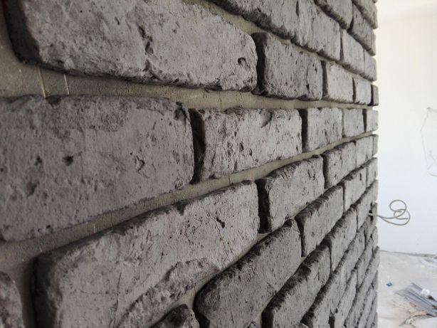 Czarna Stara Cegła na Ściane , płytki z cegły , Kamień Dekoracyjny