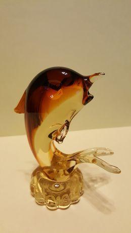 Szklany przycisk do papieru figurka ryba Murano rybka vintage