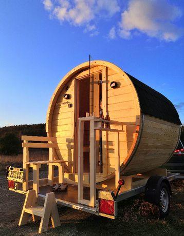 Sauna mobilna beczka balia bania ogrodowa przyczepa rydwan 2u osiowa