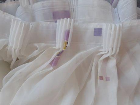 woal firana gotowa lila fiolet biel 5 m