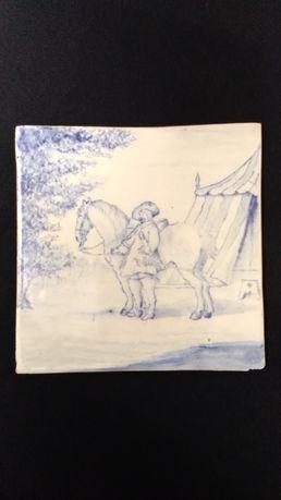 Placa de azulejo sec. XIX, pintado à mão 22 x 22 cm