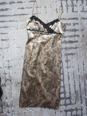 złota sukienka 38/40 L + bolerko Sylwester