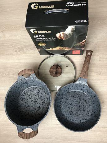 Набор посуды кастрюля исковорода с мраморным покрытием.