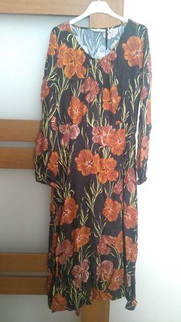 Sukienka maxi boho vintage kwiaty wiskoza Numph rozmiar 40 42