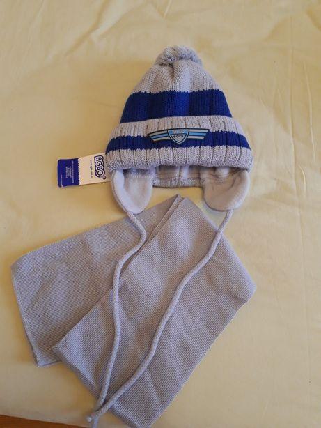 Теплая шапка и шарф для мальчика 2-4 года