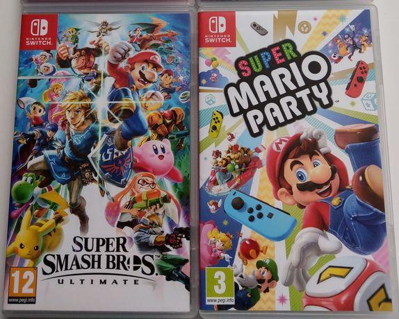 2 gry Nintendo switch Mario party i super smashbros