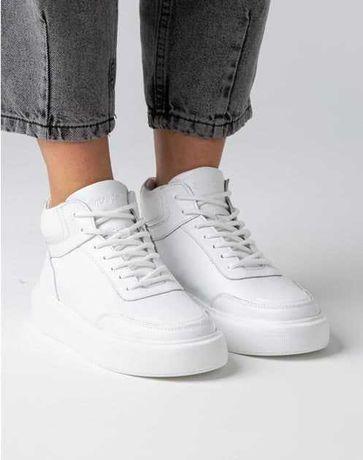 Кроссовки кожаные шкіряні женские ботинки на меху белые кожа
