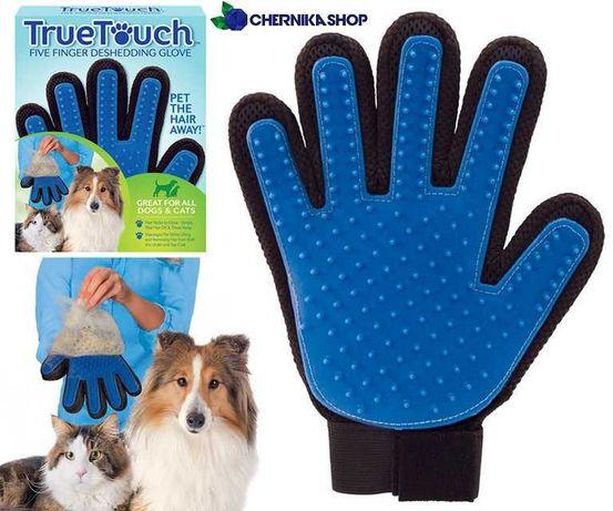 Перчатка для вычесывания шерсти животных кошек/собак