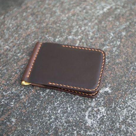 Коничневый кожаный зажим для денег кошелек мужской